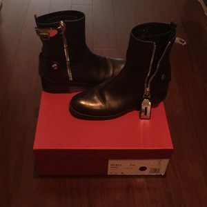 Ferragamo black Rebel biker boot